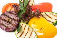 Hot grilled colored fresh vegetables for garnish Royalty Free Stock Images