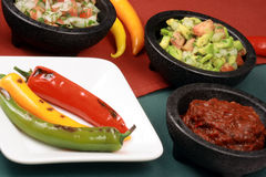 Hot grilled peppers and pico de gallo Stock Photography