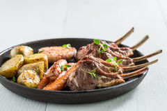 Hot grilled ribs of lamb with garlic and vegetables Stock Images