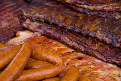 Hot Grilled Sausage and Ribs Royalty Free Stock Photo