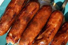 Hot grilled sausages stock photos