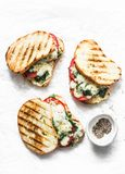 Hot grilled tomatoes, spinach and mozzarella sandwiches - healthy breakfast, snack, tapas, appetizers on a light background royalty free stock photo