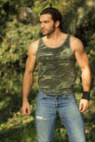 Hot guy outdoors royalty free stock image