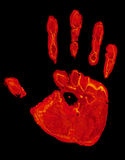 Hot hand. Hand print isolated on pure black background Stock Photography