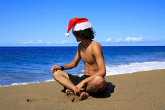 Hot Happy Chistmas on beach Royalty Free Stock Photography