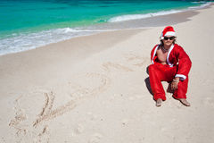 Hot Happy Chistmas on beach Royalty Free Stock Photos