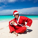 Hot Happy Chistmas on beach Royalty Free Stock Images