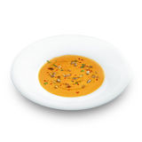 Hot healthy vegetarian pampkin cream soup with pampkin seeds Stock Images