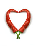 Hot heart. Made of red hot chilli peppers Royalty Free Stock Photography