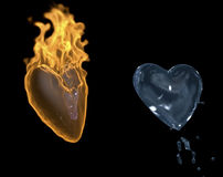 Hot heart. 3d image of hot heart and water heart Stock Images