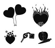 Hot heart, balloons, a key with a charm, a cold heart. Romantic set collection icons in black style vector symbol stock Royalty Free Stock Photos