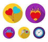 Hot heart, balloons, a key with a charm, a cold heart. Romantic set collection icons in flat style vector symbol stock Royalty Free Stock Photos
