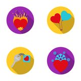 Hot heart, balloons, a key with a charm, a cold heart. Romantic set collection icons in flat style vector symbol stock. Illustration Stock Photos