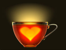 Hot heart in cup of tea. Simbolic hot heart in cup of tea for Valentine's Day 3d rendered Royalty Free Stock Photography