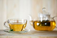 Hot herbal healthy tea with ingredients. And vitamin in the cafe table white color. Glassware Royalty Free Stock Photos