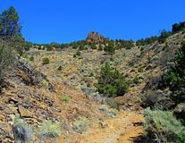 Hot Hike. Hiking trail in a small canyon north of Smith Rock State Park - Crooked River National Grassland - near Terrebonne, OR royalty free stock images