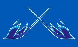 Hot hockey stick in blue fires flame. Hot hockey stick in blue fires flame Stock Photography