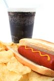 Hot hog fast food meal with potato chips and soda Royalty Free Stock Photos