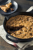 Hot Homemade Chocolate Chip Skillet Cookie Royalty Free Stock Photos