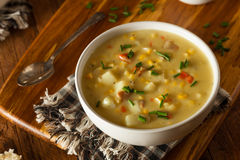 Hot Homemade Corn Chowder Stock Image