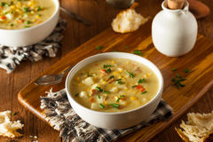 Hot Homemade Corn Chowder Royalty Free Stock Photography