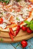 Hot homemade Italian pizza stock photos