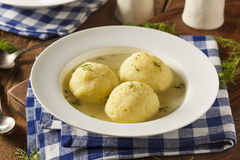 Hot Homemade Matzo Ball Soup Stock Photos