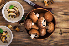 Hot homemade mushroom soup with fried mushrooms, bowl with fresh Stock Photos