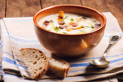 Hot homemade soup and bread Royalty Free Stock Photography