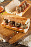 Hot and Homemade Spicy Meatball Sub Sandwich Royalty Free Stock Photos