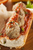 Hot and Homemade Spicy Meatball Sub Sandwich Royalty Free Stock Image