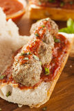 Hot and Homemade Spicy Meatball Sub Sandwich Stock Photography