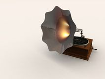 Hot Horned Gramophone. A 3D image of a retro Gramophone, with the horn replaced by hot metal.  Playing old music on a antique vinyl Royalty Free Stock Image