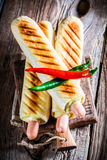 Hot hot dog with sausage and mustard Royalty Free Stock Photography