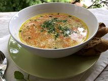 Hot, Hungarian, Homemade Potato Soup. With bread royalty free stock photo