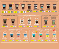 Hot and Ice coffee drinks recipes icons set. Information poster. Russian price menu. Ice coffee drinks recipes icons set. Vector and Illustration Royalty Free Stock Photography
