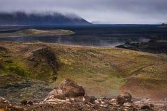 Hot icelandic lava field. A lava field near Krafla vulcano, in the region of Myvatn. The ground is still hot Royalty Free Stock Images