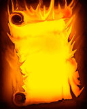 HOT INFO! Flaming Scroll (Your Text) Royalty Free Stock Photos