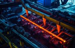 Hot ingot after molten steel casting stock photo