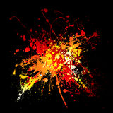 Hot ink splat. Bright red hot ink splat design with black background Stock Photos