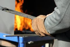 Hot iron forge Stock Photo