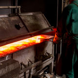 Hot iron in furnace Royalty Free Stock Images