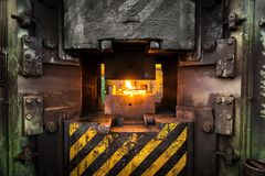 Hot iron in smeltery Royalty Free Stock Photo