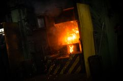 Hot iron in smeltery Stock Image