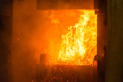 Hot iron in smeltery Royalty Free Stock Image