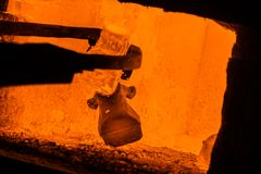 Hot iron in smeltery Stock Photo