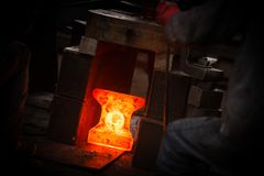 Hot iron in smeltery Royalty Free Stock Images