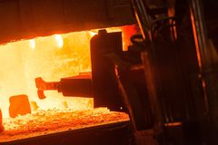 Hot iron in smeltery Royalty Free Stock Photography