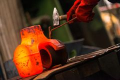 Hot iron in smeltery Royalty Free Stock Photos