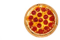 Hot italian pepperoni pizza isolated on white background. Top view. royalty free stock images